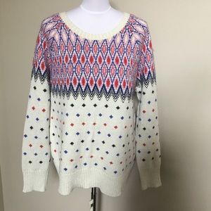 AMERICAN EAGLE fair isle metallic cozy sweater XL